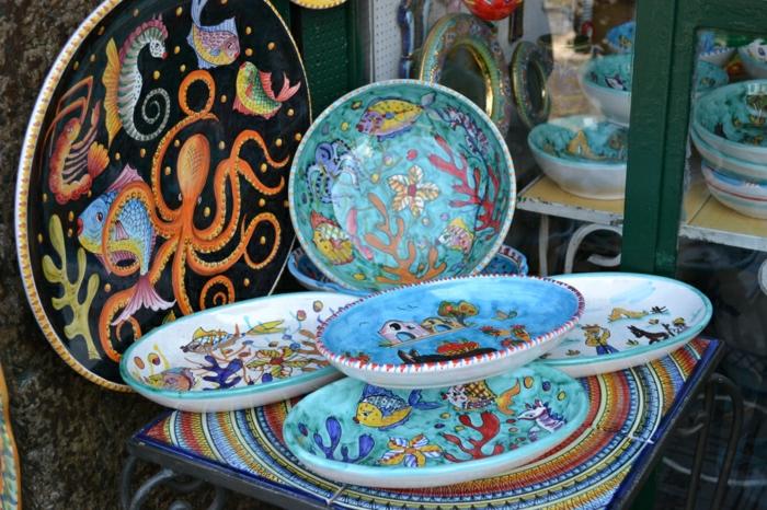 fantastische-italienische-Keramik-Platten-handgemalt-fein