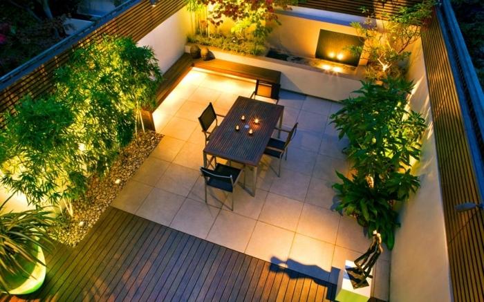 garten ideen bilder stimmungsvolle gartenbeleuchtung kleiner hintergarten gestalten gartengestaltung