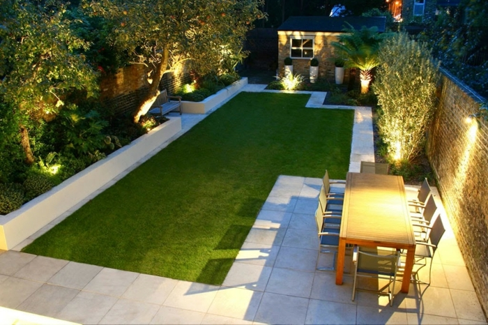 gartengestaltung sichtschutz beispiele hintergarten gestalten gestaltungideen für den außenbereich gartenbeleuchtung
