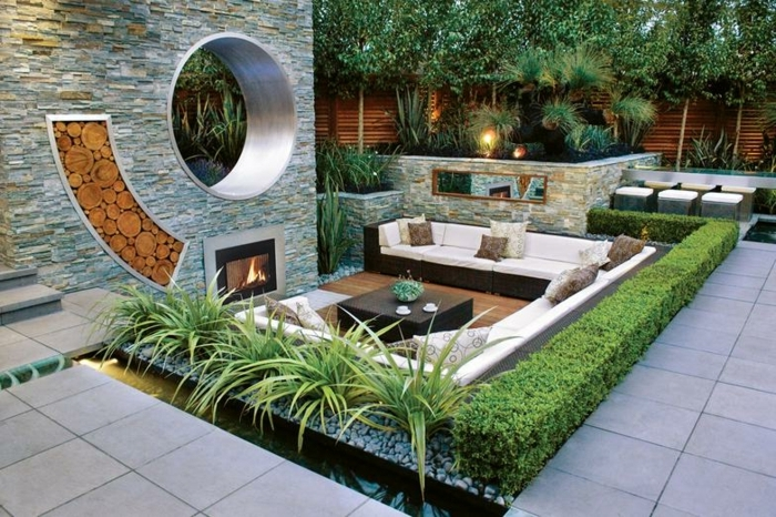 gartengestaltung sichtschutz beispiele sitzplatz im garten feuerstelle gartengestaltung moderne möbel