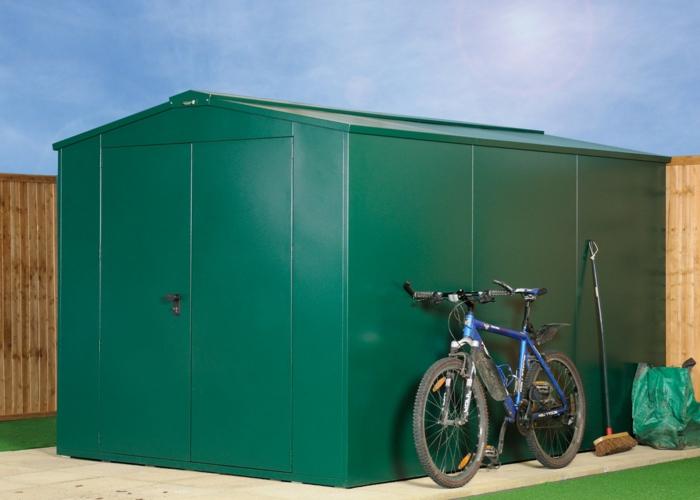 gartenhaus-aus-metall-ein-fahrrad-daneben