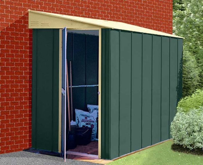 gartenhaus-aus-metall-grünes-modell-klein-und-praktisch