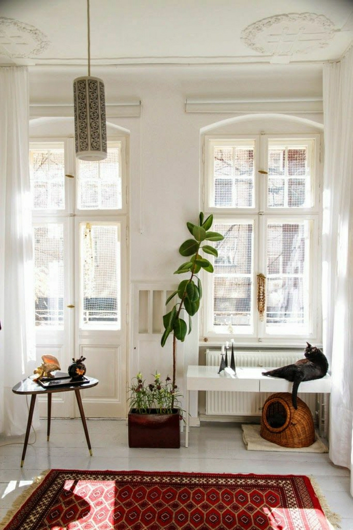 gemütliches-Zimmer-weiß-Katze-vintage-Teppich