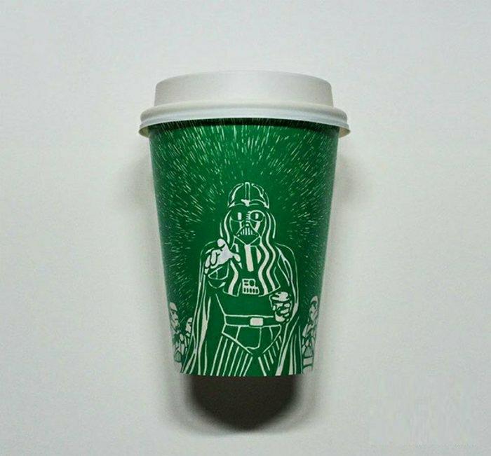 grüner-Kaffeebecher-to-go-Papier-Starbucks-Star-Wars-Zeichnung