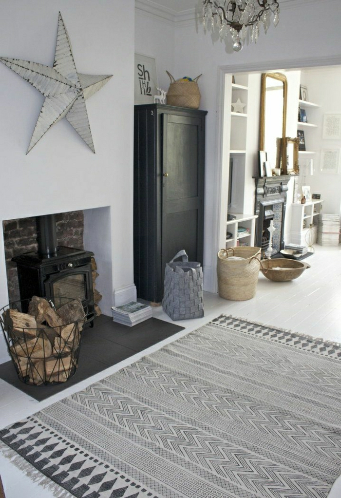 graue-Gestaltung-vintage-Teppich-Kamin