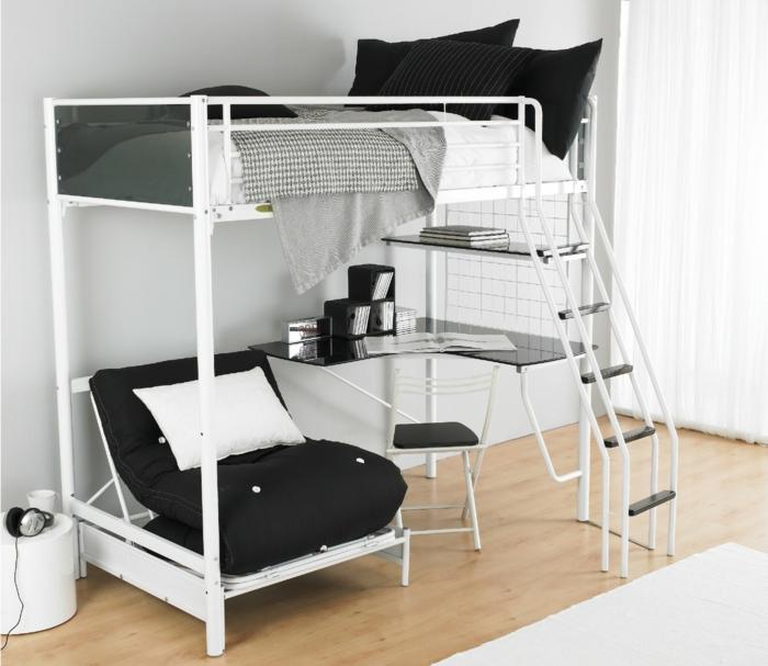 hochbett-für-erwachsene-weiße-gestaltung-schwarzes-aussehen