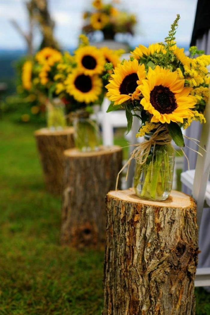 Sonnenblumen sind für Hochzeitsdekoration besonders bevorzugt