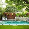 ideen sichtschutz garten schwimmbad im hintergarten zaun aus holz wasserfall