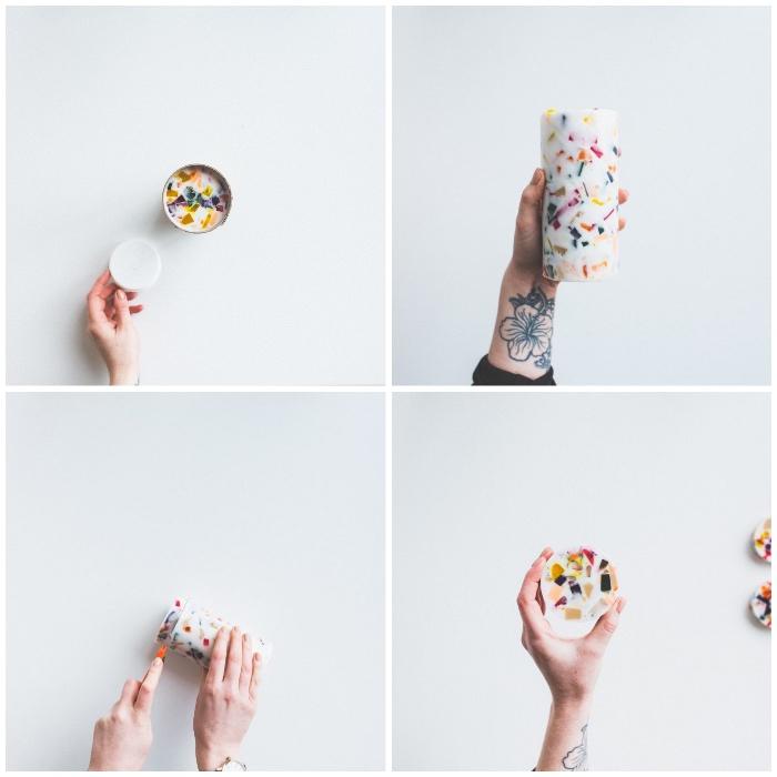 individuelle geschenke, handgemachte seifen mit kleinen bunten stückchen, tattoo mit blumen