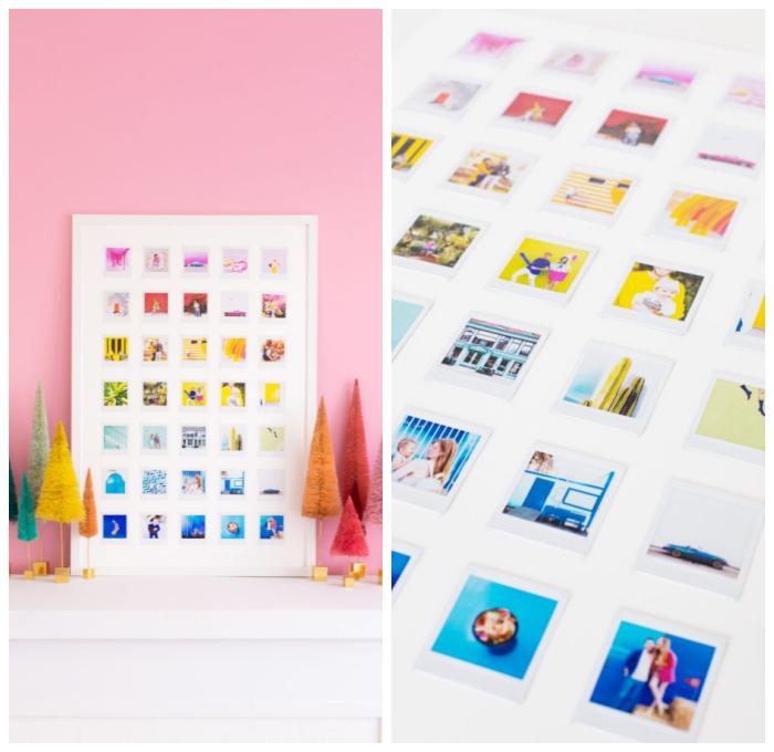 kreative und individuelle geschenke zum selbermachen, fotowand basteln, weißer rahmen, bunte fotos