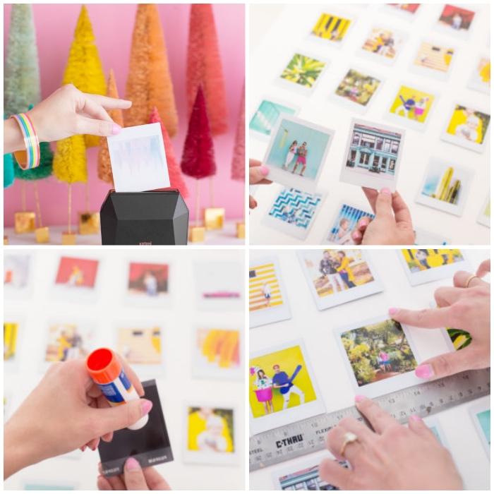 individuelle geschenke selber machen, fotowand basteln anleitung, weißer rahmen, fotos ausschneiden
