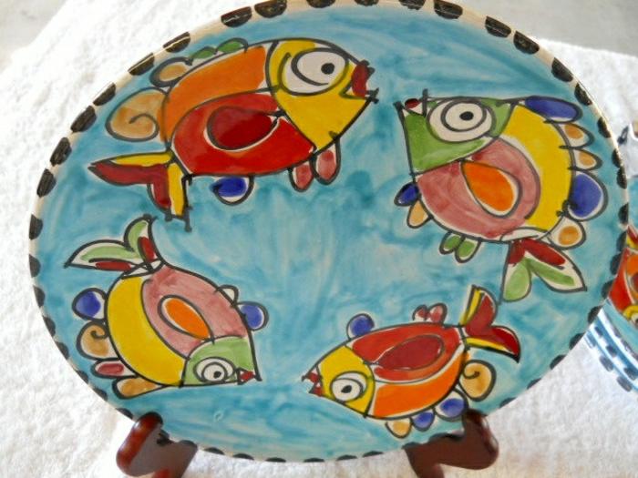 italienische-Keramikplatte-Fische-Dekoration-handgemalt