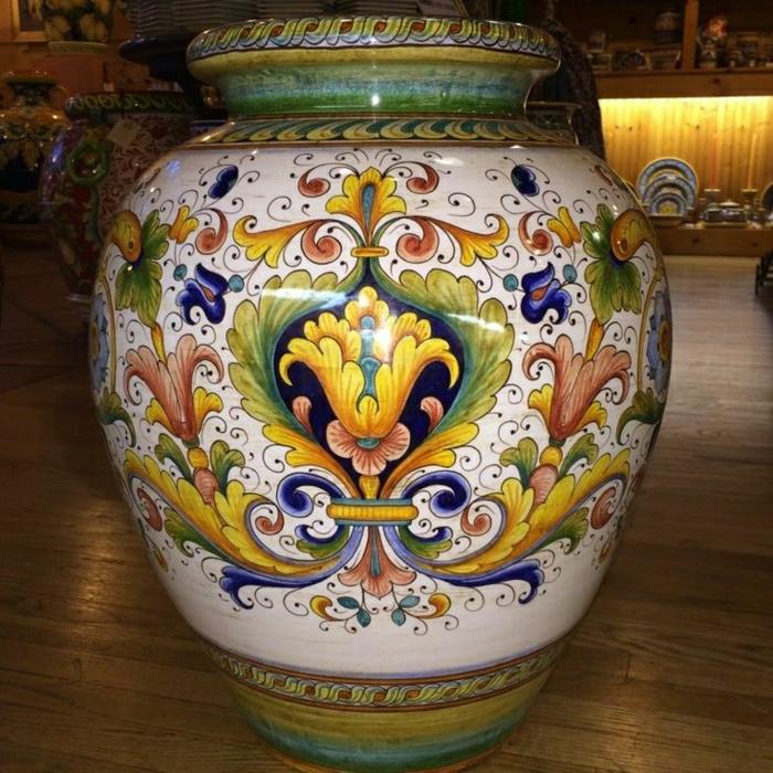 italienische-keramische-Urne-handgemalt