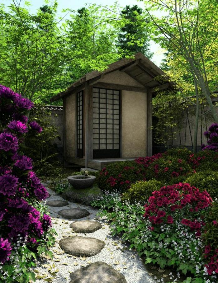japanischer-Zen-Garten-Häuschen-Pfad-Trittsteine