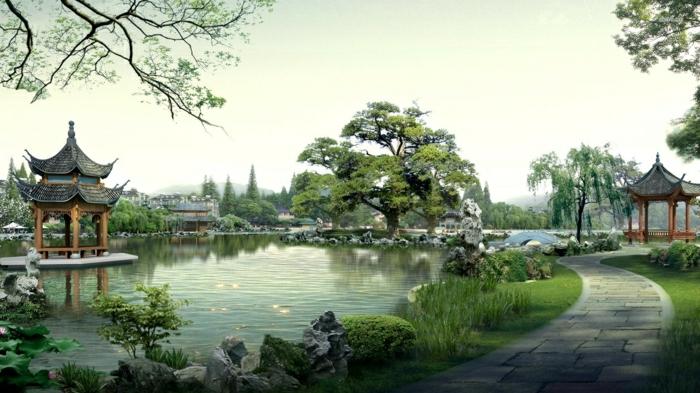 japanischer-garten-zen-Atmosphäre-großartige-Sicht-traditionelles-Haus-See