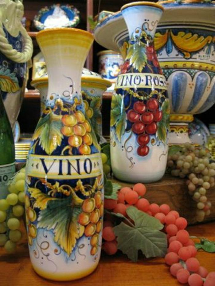 keramische-Karaffen-Wein-italienisches-Design-handgemalt-Töpferei
