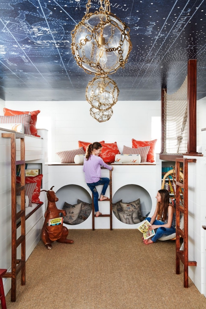 kinderzimmer deko, ide besten ideen, mädchenzimmer für zwei, galaxy decke