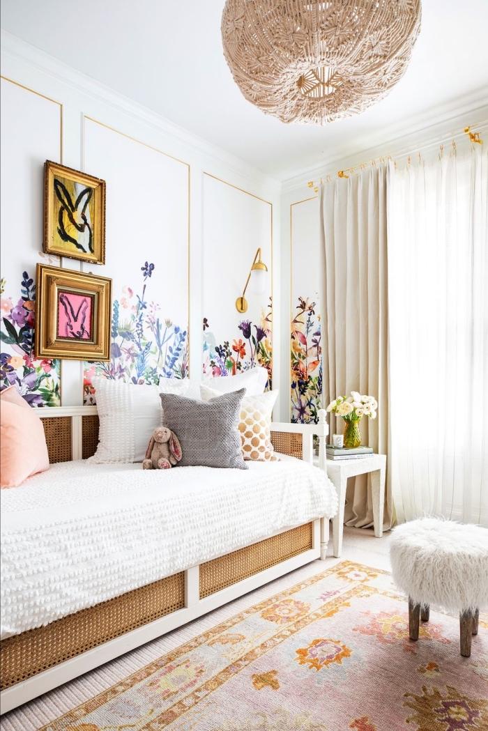 kinderzimmer deko für mädchen, mödchenzimmer gestalten, wanddeko blumen