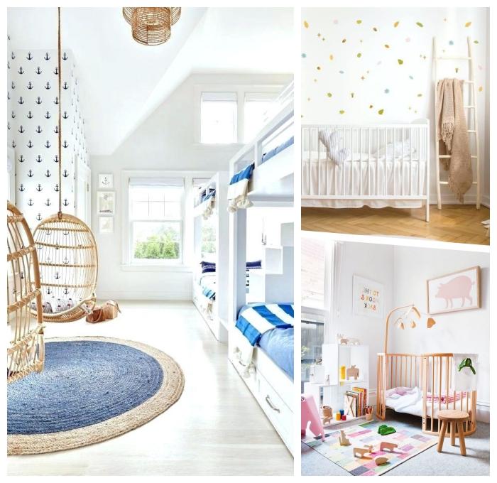 kinderzimmer deko ideen, babyzimmer dekorieren, weißes babybett, wanddeko mit wandstickern