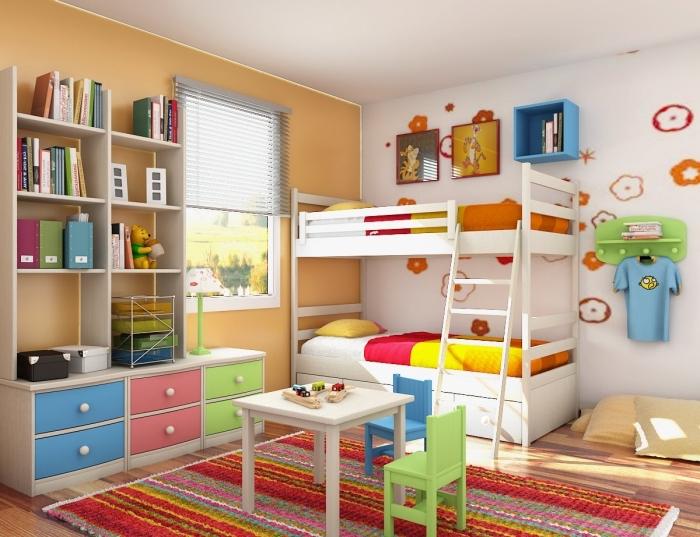 kinderzimmer deko ideen, farbenfrohe kinderzimmerdeko, zimmerdeko ideen, jugendzimmer für zwei