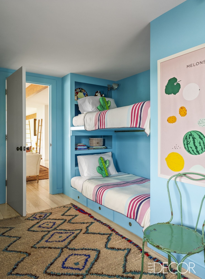 kinderzimmer deko ideen für jungen, jugendzimmer für zwei, teppich mit geometrischen motiven