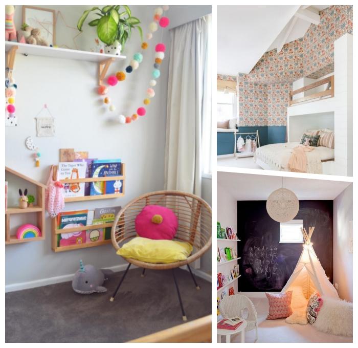 kinderzimmer deko ideen, runder stuhl, farbenfrohe kinderzimmerdeko, zimmer dekorieren, wanddeko taferlfarbe