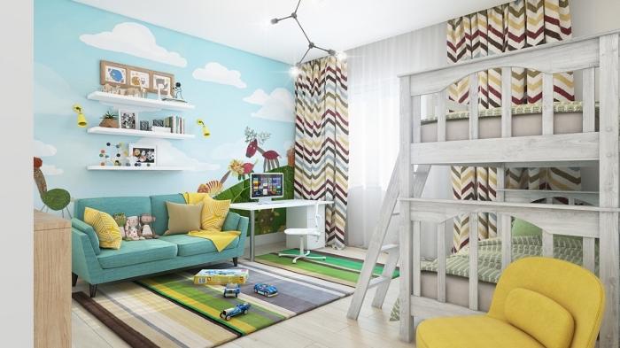 jugendzimmer für zwei, kinderzimmer deko junge, große wandtapette, blaues sofa