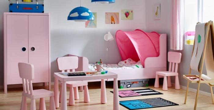 kindezimmer deko mädchen, rosa mäbelset, mädchenzimmer einrichten, babyzimmer gestalten
