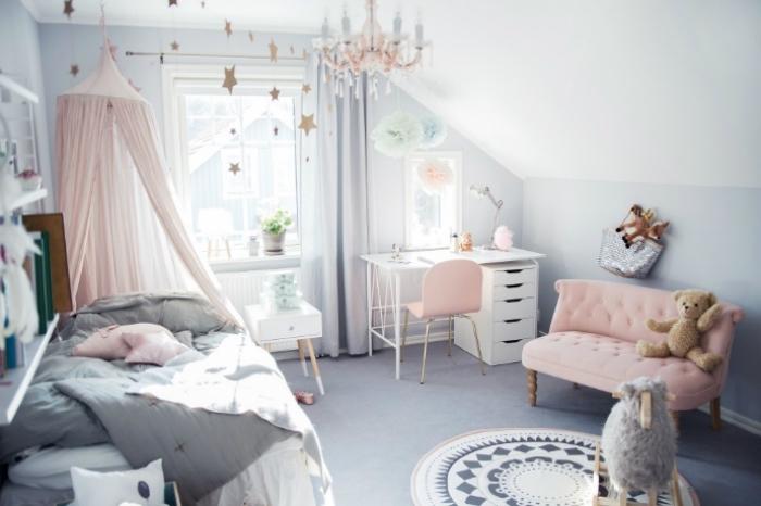 mödchnzimmer gestalten, jugendzimmer in grau und rosa, kinderzimmer deko mädchen, teenager zimmer