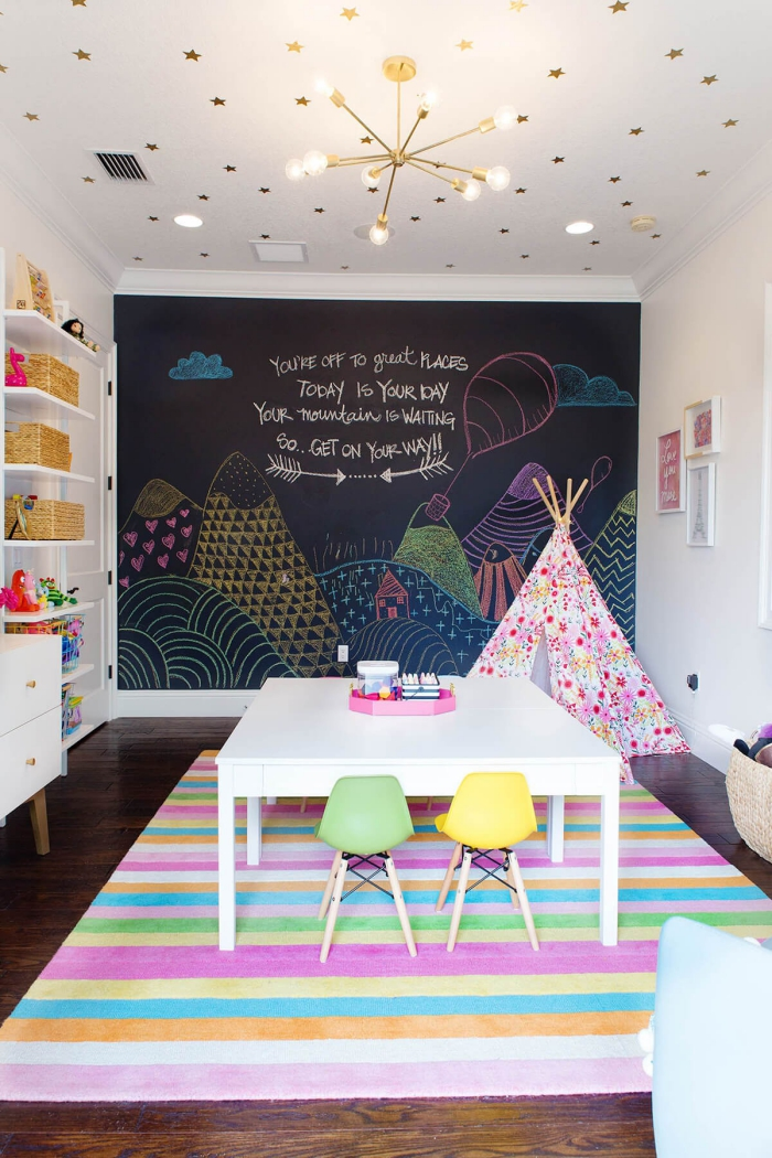 kinderzimmer deko, zimmer zum spielen für kinder, spielzimmer gestalten, tafelwand