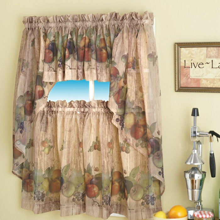Kitchen Curtains With Fruit Design
