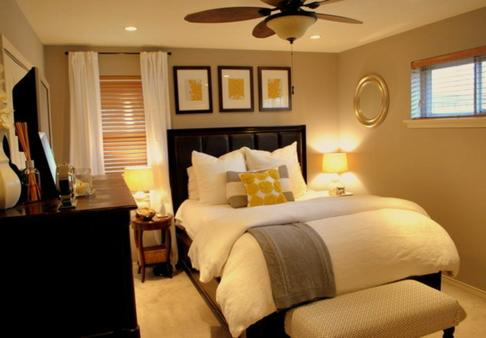 herrliches kleines schlafzimmer einrichten - viele dekokissen