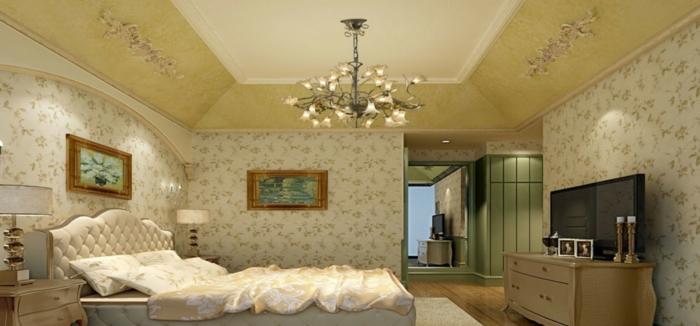 komplettes-Schlafzimmer-Italienisch-Tapeten-mit-Blumenmotive-großes-Bett