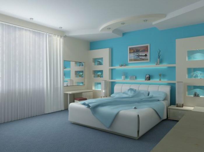 komplettes-Schlafzimmer-Polsterbett-blau-weiß