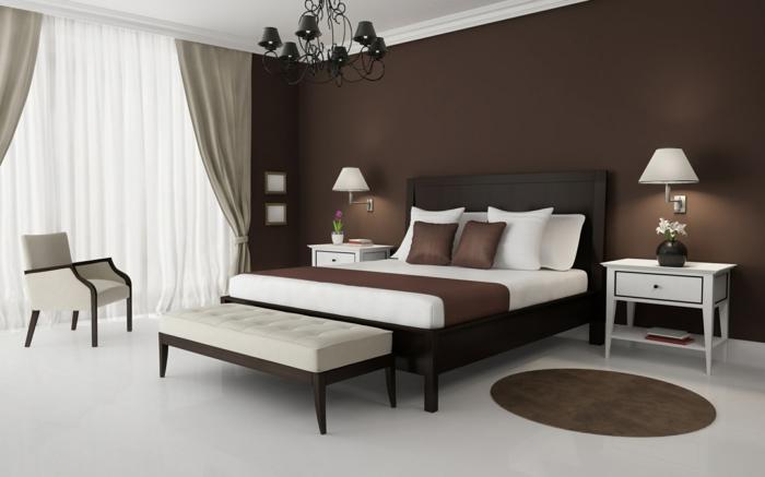 komplettes-Schlafzimmer-braune-Wände-weißer-Boden