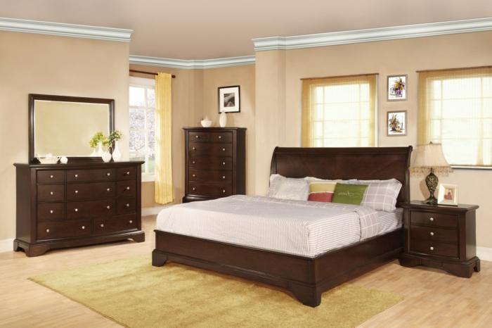 komplettes-Schlafzimmer-dunkelbraune-Möbel-helle-Wände