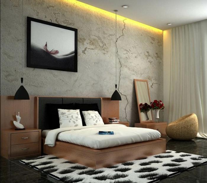 komplettes-Schlafzimmer-eleganter-Kopfteil-hängende-Lampen