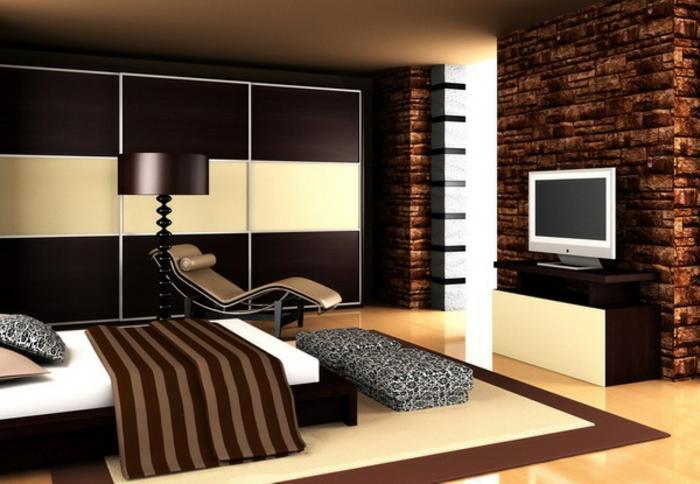 komplettes-Schlafzimmer-modern-dunkelbraun-und-gelb