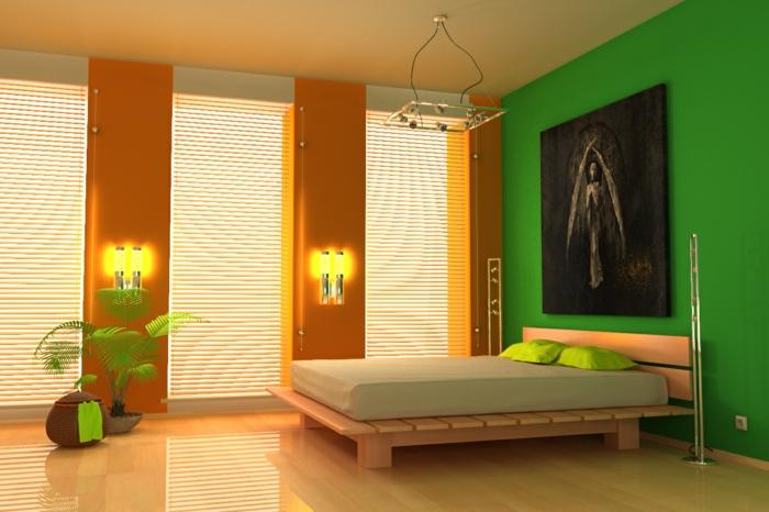 komplettes-Schlafzimmer-orange-grüne-Wand-schwarzes-Bild