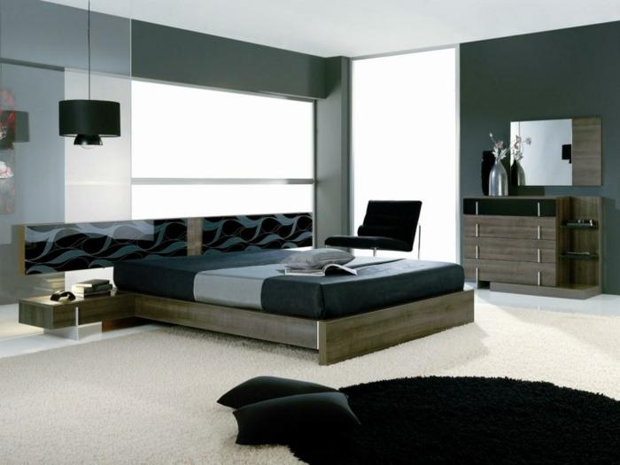 komplettes-Schlafzimmer-schwarz-grau-und-dunkelholz