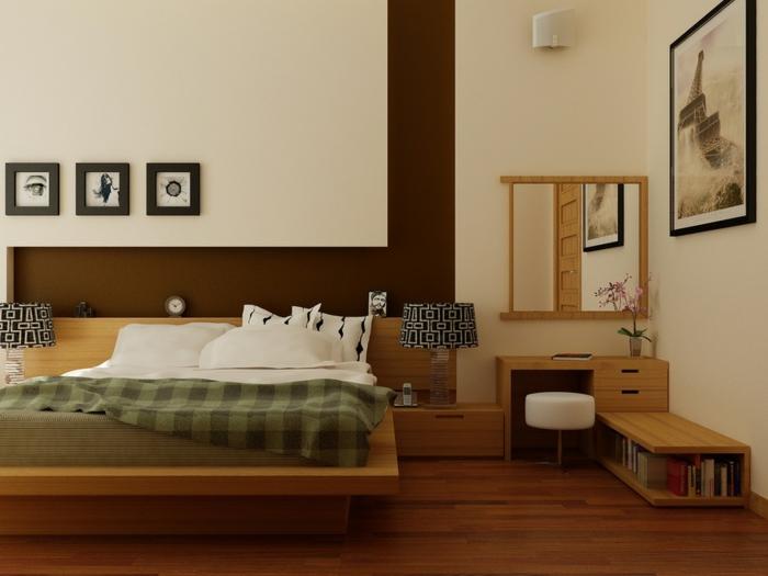 komplettes-Schlafzimmer-viele-Bilder-braun-weiße-Wand