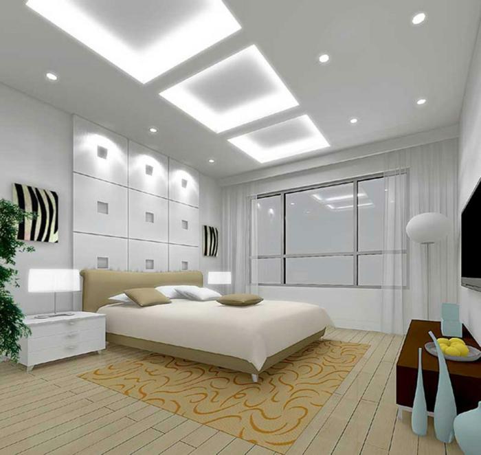 komplettes-Schlafzimmer-weiße-Decowand-kleiner-Teppich