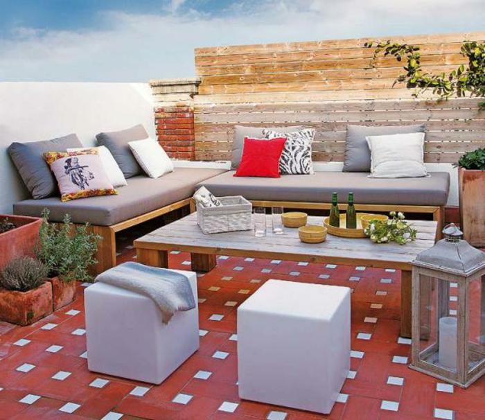 Loungemöbel  Für Balkon Rot Weiß Boden
