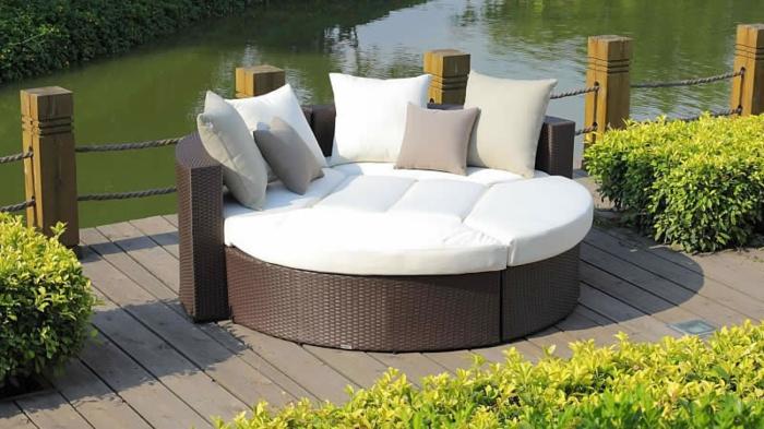 Loungemöbel  Für Balkon Weiß Braun Rattan