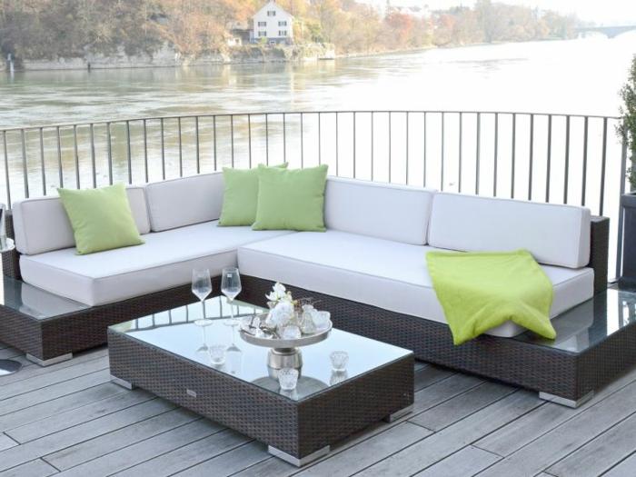 Loungemöbel  Für Balkon Weiß Grüne Kisse