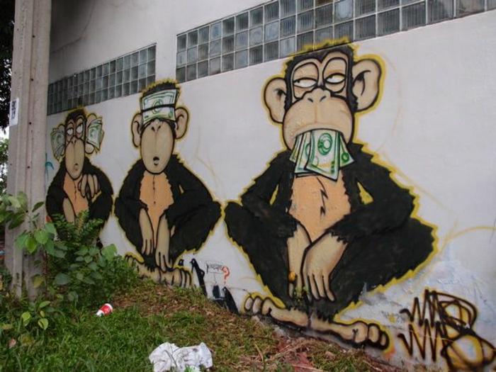 lustige-Graffiti-Affen-Geld-Dollars