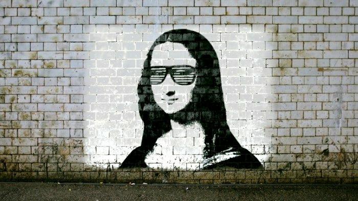 lustige-Graffiti-kreative-Idee-street-art-Mona-Lisa-Sonnenbrille