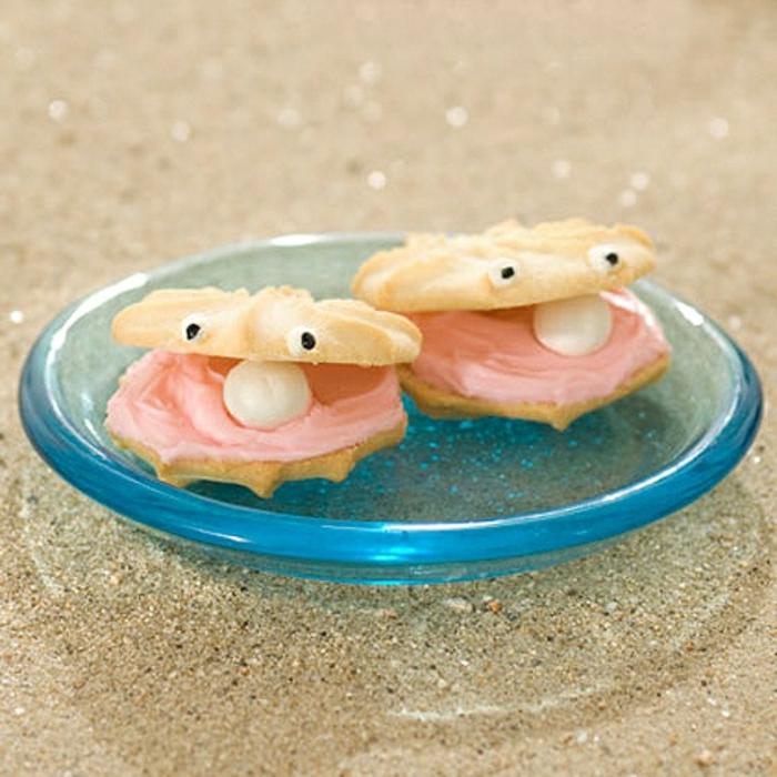 lustiges-Essen-Muscheln-Cookies-Perlen-Creme