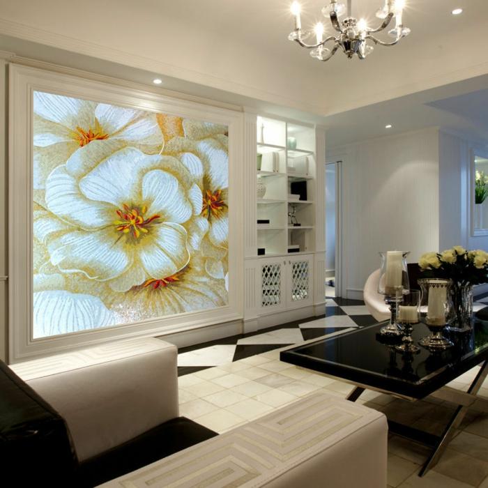 luxus-tapeten-sofas-und-tisch