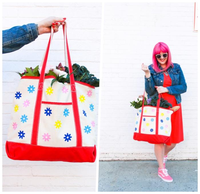 persönliche geschenke, diy bastelideen, tasche dekoriert mit kleine blüten, rotes kleid, rosa haare, große sonnenbrille